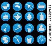 bathroom icon set with gradient ... | Shutterstock .eps vector #116209681