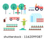 greenhouse and tractor farming... | Shutterstock .eps vector #1162099387