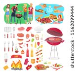 bbq party barbeque posters and... | Shutterstock .eps vector #1162099444