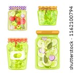 canned vegetables with garlic ... | Shutterstock .eps vector #1162100794
