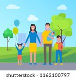 family daughter and son in city ... | Shutterstock .eps vector #1162100797