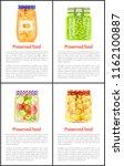 preserved healthy food in jars... | Shutterstock .eps vector #1162100887
