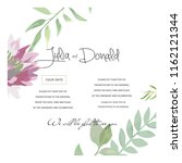 watercolor vector card with... | Shutterstock .eps vector #1162121344