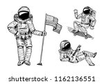 astronaut soaring with the usa... | Shutterstock .eps vector #1162136551