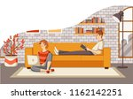 young couple reading book and... | Shutterstock .eps vector #1162142251
