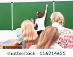 school girl writes on the... | Shutterstock . vector #116214625