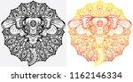 elephant mandala design outline ...   Shutterstock .eps vector #1162146334