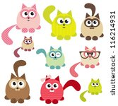 Stock vector set of cute cats 116214931