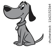 black and white dog with collar ...   Shutterstock .eps vector #1162152364