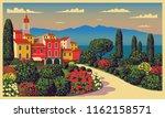 mediterranean romantic... | Shutterstock .eps vector #1162158571