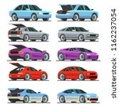 colorful cars with open trunk... | Shutterstock .eps vector #1162237054