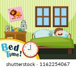 young boy bed time illustration | Shutterstock .eps vector #1162254067