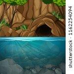 underwater cave landscape scene ... | Shutterstock .eps vector #1162254094