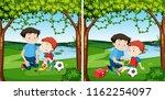man helping injured boy | Shutterstock .eps vector #1162254097