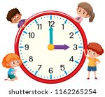children and clock on white... | Shutterstock .eps vector #1162265254