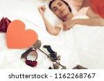rose ring and postal. sleeping...   Shutterstock . vector #1162268767