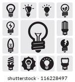 vector black bulbs icons set on ... | Shutterstock .eps vector #116228497