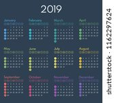simple calendar 2019  starts... | Shutterstock .eps vector #1162297624
