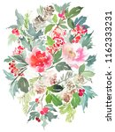christmas watercolor... | Shutterstock . vector #1162333231
