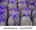 Bags with dried lavender at a French market - stock photo
