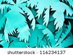 art background palm leaves blue   Shutterstock . vector #116234137