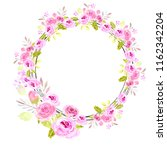 pink watercolor floral wreath... | Shutterstock . vector #1162342204