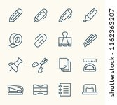 stationery line icons | Shutterstock .eps vector #1162363207