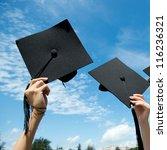 many hand holding graduation... | Shutterstock . vector #116236321