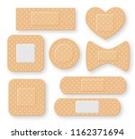 set of realistic first aid band ... | Shutterstock . vector #1162371694