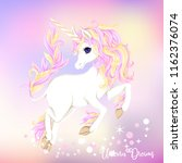 white unicorn with multycolor... | Shutterstock .eps vector #1162376074