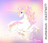 white unicorn with multycolor... | Shutterstock .eps vector #1162376077