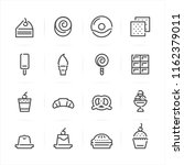 dessert icons with white... | Shutterstock .eps vector #1162379011