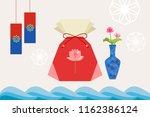 korean lucky pocky  flower vase ... | Shutterstock .eps vector #1162386124