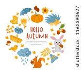 hello autumn  fall greeting... | Shutterstock .eps vector #1162390627