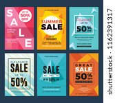 set of sale and discount flyers.... | Shutterstock .eps vector #1162391317