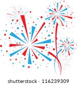big red and blue fireworks on... | Shutterstock .eps vector #116239309