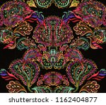 paisley watercolor ethnic... | Shutterstock . vector #1162404877