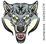 angry wolf head . tattoo style... | Shutterstock .eps vector #1162411174