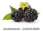 ripe blackberries with green...   Shutterstock . vector #1162413604
