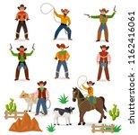 cowboy vector western cow boy... | Shutterstock .eps vector #1162416061