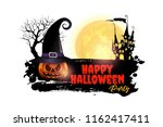 halloween pumpkins and dark... | Shutterstock .eps vector #1162417411
