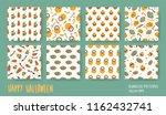 halloween set. vector seamless... | Shutterstock .eps vector #1162432741