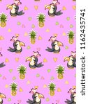 exotic pattern with cute toucan ... | Shutterstock .eps vector #1162435741