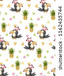 exotic pattern with cute toucan ... | Shutterstock .eps vector #1162435744