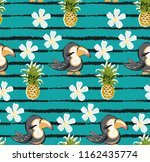 exotic pattern with cute toucan ... | Shutterstock .eps vector #1162435774