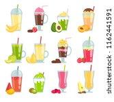 summer drinks smoothie. various ... | Shutterstock .eps vector #1162441591