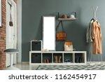 stylish hallway interior with...   Shutterstock . vector #1162454917