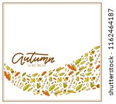 autumn sale with doodle leaves. ... | Shutterstock .eps vector #1162464187