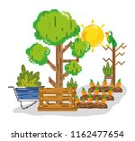 farm harvest pixelated cartoons | Shutterstock .eps vector #1162477654