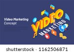 3d text video with social media ... | Shutterstock .eps vector #1162506871